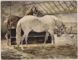 Теодор Жерико. Две лошади в конюшне