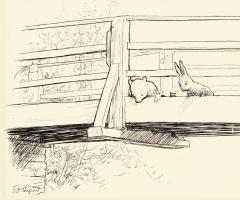 Эрнест Шепард. Игра в Пустяки (лицевая сторона). Иллюстрация к книге «Винни-Пух» А. А. Милна