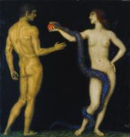 Франц фон Штук. Адам и Ева 1920 (ок)  темпера.