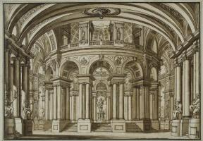 Джузеппе Валериани. Интерьер парадного зала со скульптурой Геракла в центре