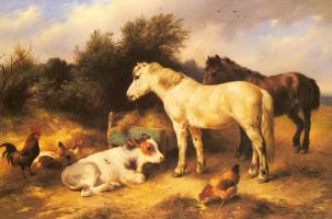Уолтер Хант. Пони, теленок и птицы на скотном дворе