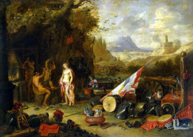 Jan van Kessel Elder. Venus in the forge of Vulcan