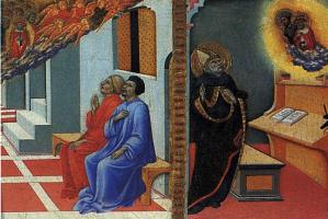 Сано Ди Пьетро. Святой Иероним является Сульпицию Северу и Святому Августину