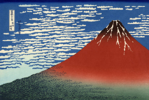 Katsushika Hokusai. South wind. Clear day (Red Fuji)