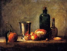 Жан Батист Симеон Шарден. Натюрморт с апельсином, серебряным кубком, грушей и двумя бутылками
