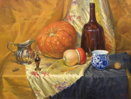 Sergey Alekseevich Makarov. Still life with two pumpkins