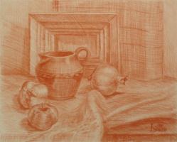 Лариса Луканева. Натюрморт с хурмой и картинной рамкой