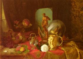 Александр Блез Десгоф. Натюрморт с фруктами и статуей