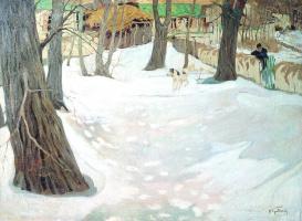 Исаак Израилевич Бродский. Зимний пейзаж с домиком и собакой