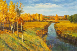 """Savely Kamsky. Copy of the picture """"Golden Autumn"""""""
