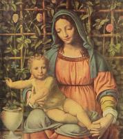 Бернардино Луини. Мадонна перед изгородью из розовых кустов