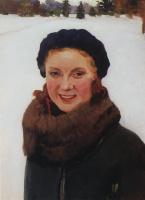 Игорь Эммануилович Грабарь. Зимой. Портрет О.И. Грабарь, дочери художника