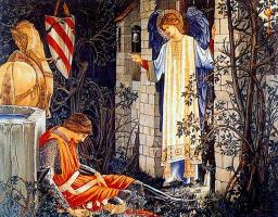 Уильям Моррис. Серия «Поиски Святого Грааля». Сэр Ланселот у часовни Святого Грааля (Совместно с Эдвардом Бёрн-Джонсом)