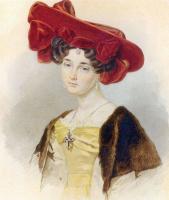 Петр Федорович Соколов. Портрет неизвестной в темно-красной шляпе