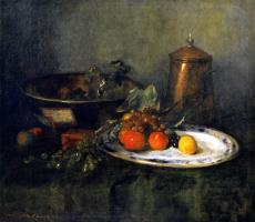 Натюрморт с фруктами и медной посудой