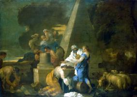 Себастьян Бурдон. Иаков зарывает идолов в землю под Сихемским дубом
