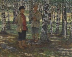 Николай Петрович Богданов-Бельский. Мальчики в березовом лесу