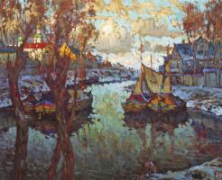Константин Иванович Горбатов. Вид Пскова. Закат. 1919