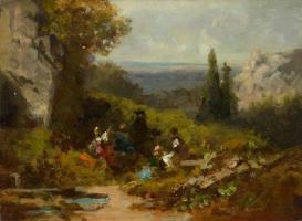 Карл Шпицвег. Путники в пейзаже с руинами