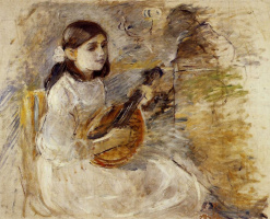 Берта Моризо. Девочка, играющая на мандолине