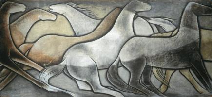Wild horses (one of six panels)