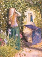 Артур Хьюз. Девушка возле цветов