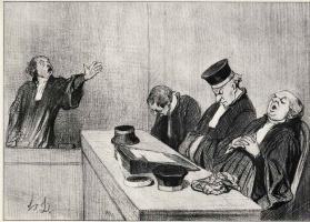 """Оноре Домье. Защитник перед судом """"..потому что правосудие неустанно бдит.."""""""