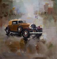 Saveliy Kamsky. Retro car on city background N3
