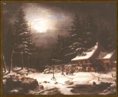 Корнелиус Криегхофф. Гостиница Белая Лошадь в лунном свете