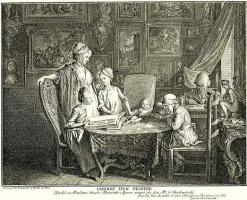 Даниэль  Николай Ходовецкий. Кабинет живописи. Портрет семьи художника
