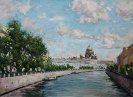 Александр Николаевич Безродных. Вид с реки Мойки на Исаакий