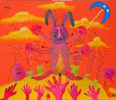 Олександр Васильович Ляпiн. Неожиданное явление кролика, который видит вещие глюки. Все требуют предсказаний. Но кролик знает, что это возможно только тогда, когда проснуться его дружюаны шарики, созерцющие в это время свой пустой мир счастья и добра.