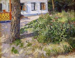 David Davidovich Burliuk. Landscape with a flowerbed