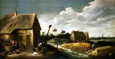 Давид Тенирс Младший. Пейзаж со служанкой у колодца