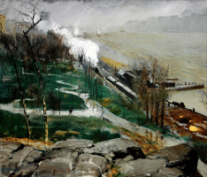 George Wesley Bellows. Rain on the river