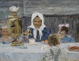 Николай Николаевич Баскаков. Бабушка с внуками. 1960