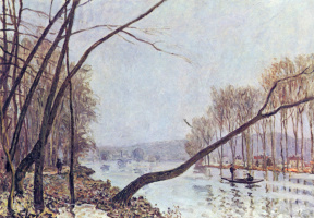 Alfred Sisley. Bank of the Seine in autumn
