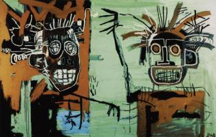 Jean-Michel Basquiat. Two heads on gold