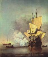 Виллем ван де Вельде Младший. Орудийный залп