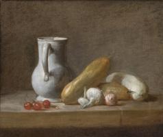 Jean Baptiste Simeon Chardin. Still life of jug, cherries and vegetables