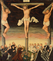 Lucas Cranach the Younger. Crucifixion with donors and their coats of arms.