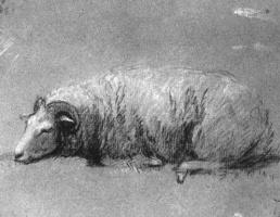 Томас Гейнсборо. Отдыхающая овца. Эскиз