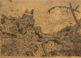 Херкюлес Питерс Сегерс. Горная долина с сухим деревом справа