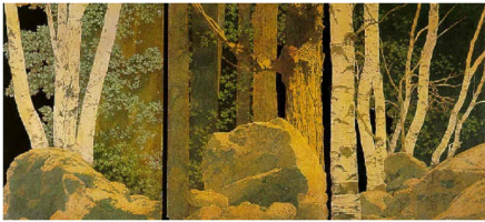 """Maxfield Parrish. Design scenery for the production of """"Storm"""". Triptych"""