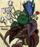 Габриель Мюнтер. Цветы на белом фоне (цикламен и гиацинт)