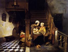Петрусь Молиджн. Мать с детьми на лестнице