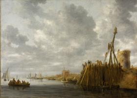 Ян ван Гойен. Вид на гавань со сторожевой башней и маяком