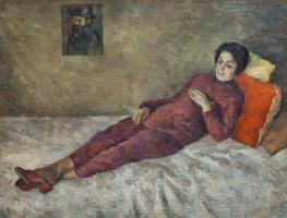 Роберт Рафаилович Фальк. Женщина, лежащая под картиной Сезанна