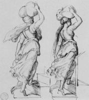 "Julius Schnorr von Karolsfeld. The sketches for the composition ""the Emperor Charles and the leader of the Franks in Paris"": the Female figure, with a burden on his head"