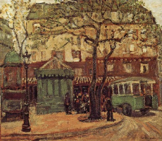 Grant Wood. Green bus on the street of Paris